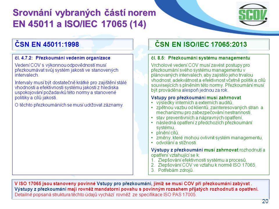 Srovnání vybraných částí norem EN 45011 a ISO/IEC 17065 (14)