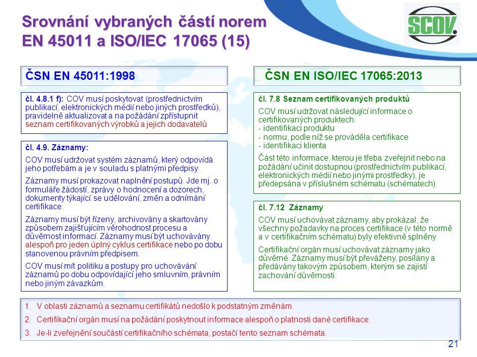 Srovnání vybraných částí norem EN 45011 a ISO/IEC 17065 (15)