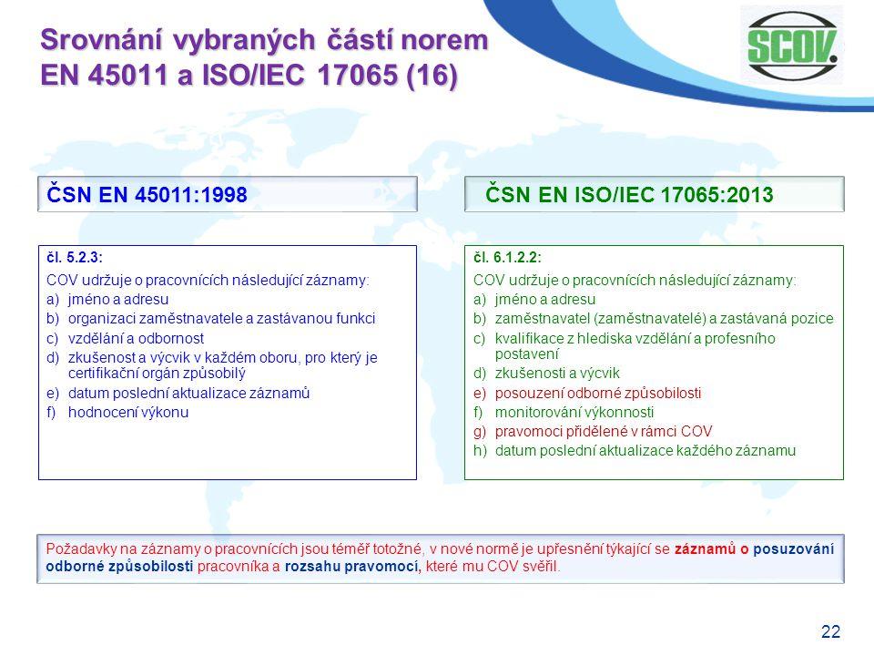 Srovnání vybraných částí norem EN 45011 a ISO/IEC 17065 (16)
