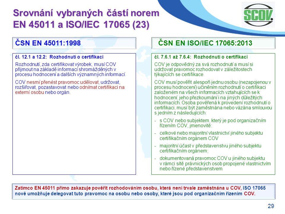 Srovnání vybraných částí norem EN 45011 a ISO/IEC 17065 (23)
