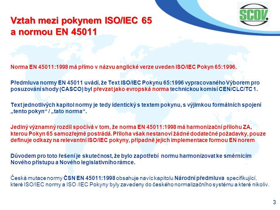 Vztah mezi pokynem ISO/IEC 65 a normou EN 45011