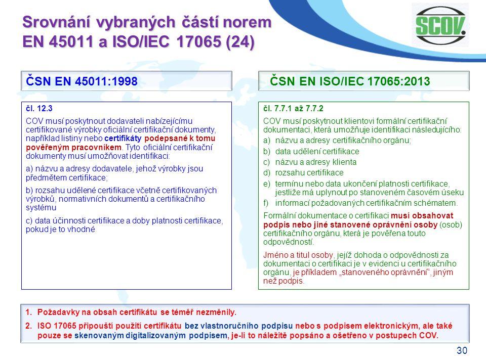 Srovnání vybraných částí norem EN 45011 a ISO/IEC 17065 (24)