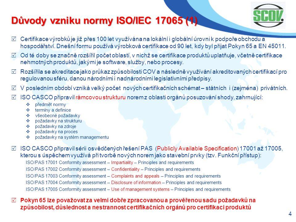 Důvody vzniku normy ISO/IEC 17065 (1)