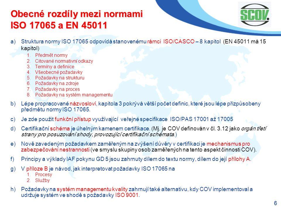 Obecné rozdíly mezi normami ISO 17065 a EN 45011