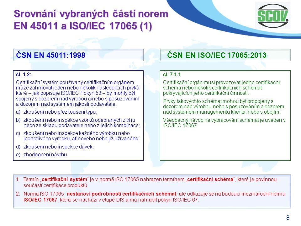 Srovnání vybraných částí norem EN 45011 a ISO/IEC 17065 (1)