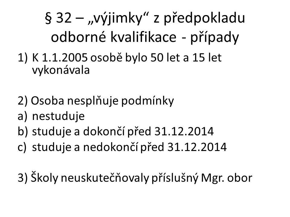 """§ 32 – """"výjimky z předpokladu odborné kvalifikace - případy"""
