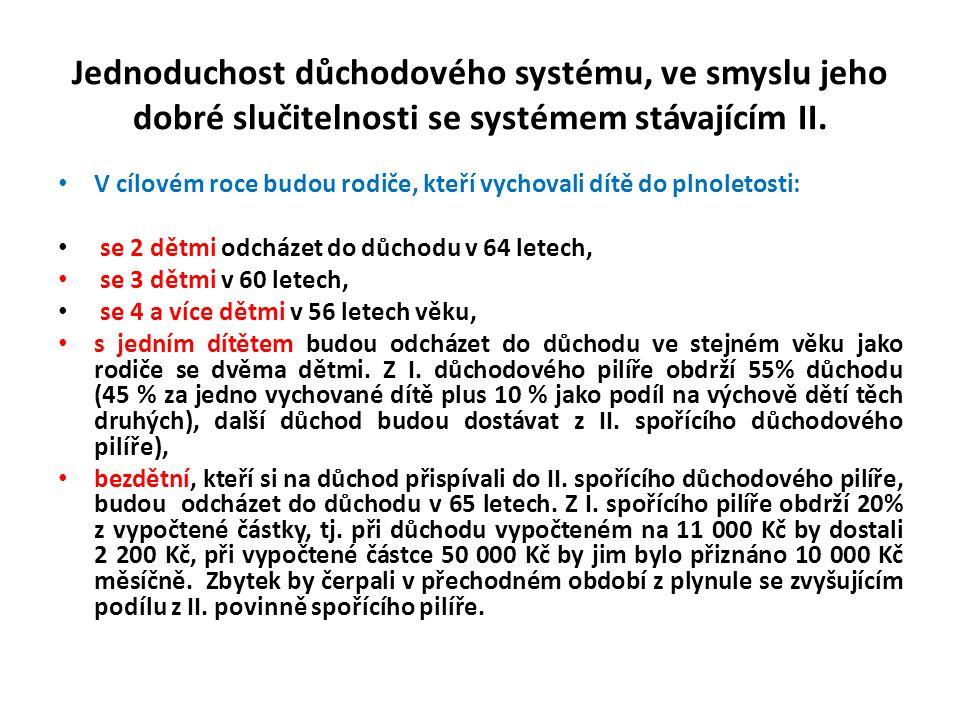 Jednoduchost důchodového systému, ve smyslu jeho dobré slučitelnosti se systémem stávajícím II.