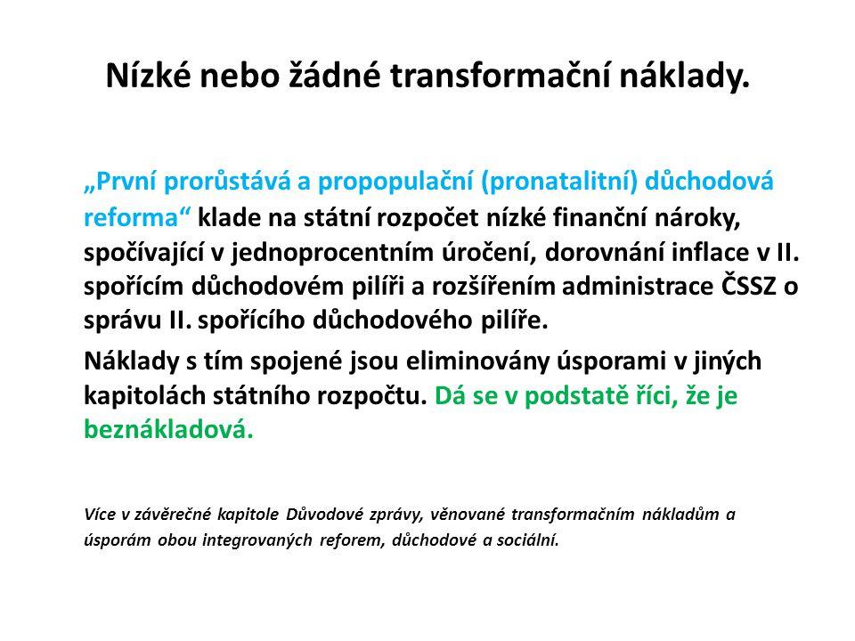 Nízké nebo žádné transformační náklady.