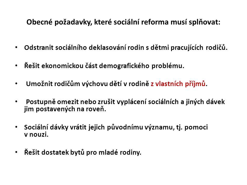 Obecné požadavky, které sociální reforma musí splňovat: