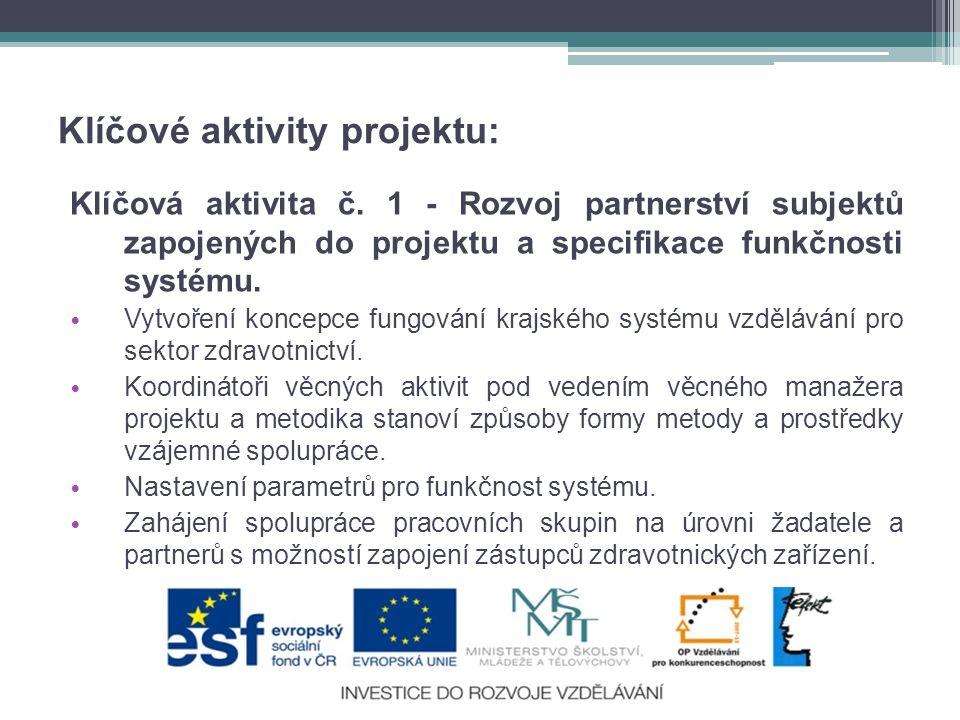 Klíčové aktivity projektu: