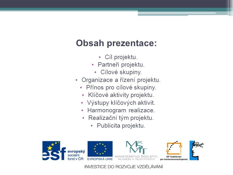 Obsah prezentace: Cíl projektu. Partneři projektu. Cílové skupiny.