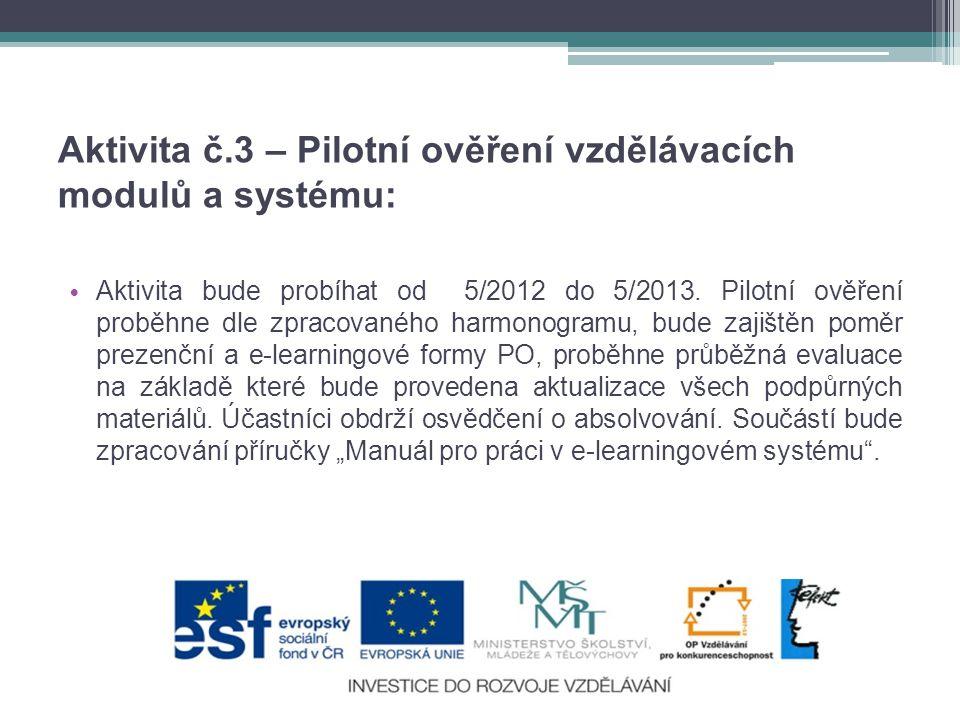 Aktivita č.3 – Pilotní ověření vzdělávacích modulů a systému: