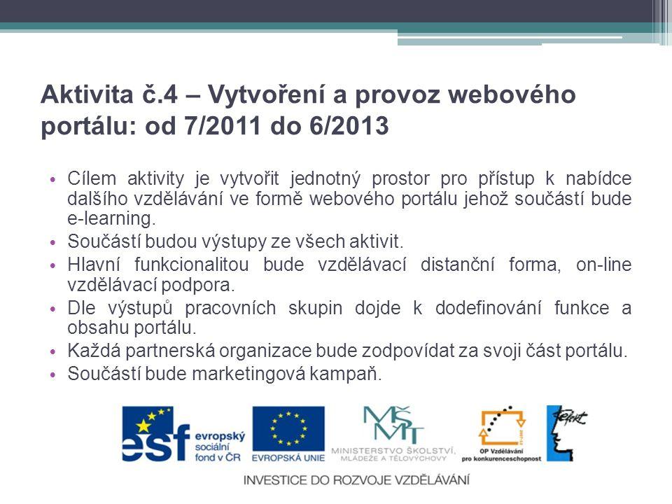 Aktivita č.4 – Vytvoření a provoz webového portálu: od 7/2011 do 6/2013