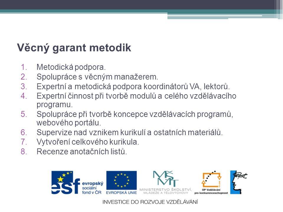 Věcný garant metodik Metodická podpora. Spolupráce s věcným manažerem.