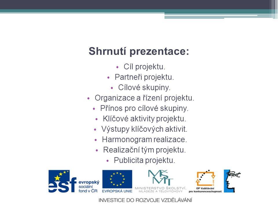 Shrnutí prezentace: Cíl projektu. Partneři projektu. Cílové skupiny.