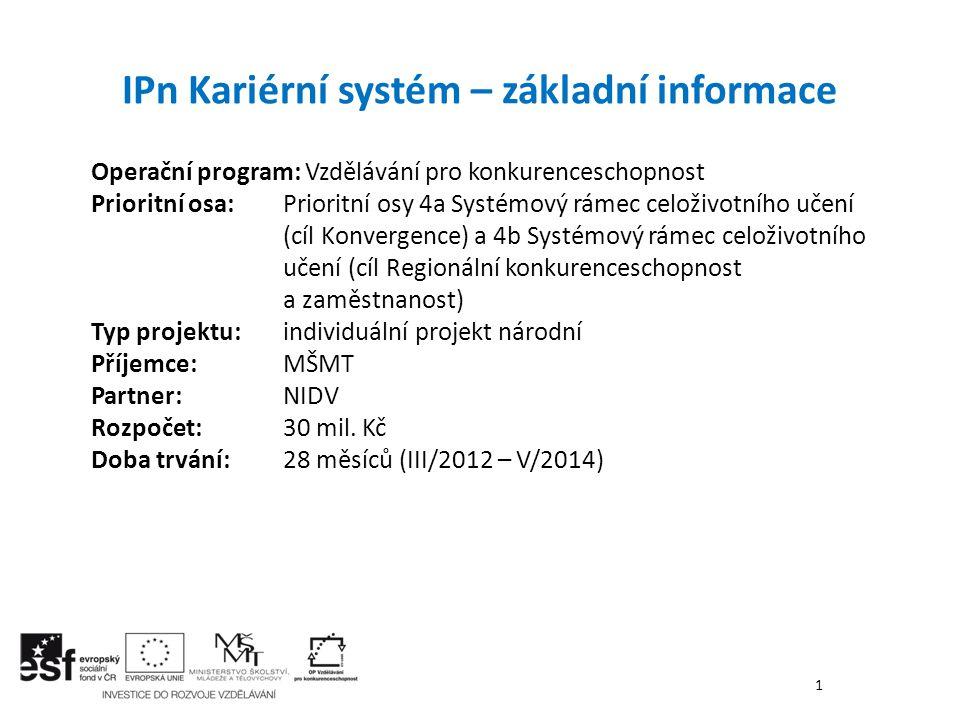 IPn Kariérní systém – základní informace