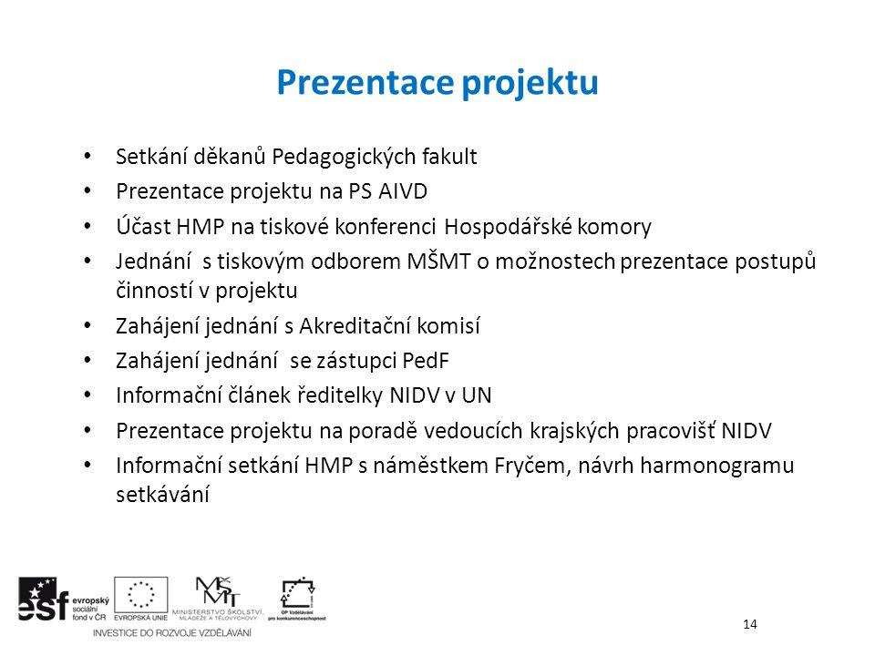 Prezentace projektu Setkání děkanů Pedagogických fakult