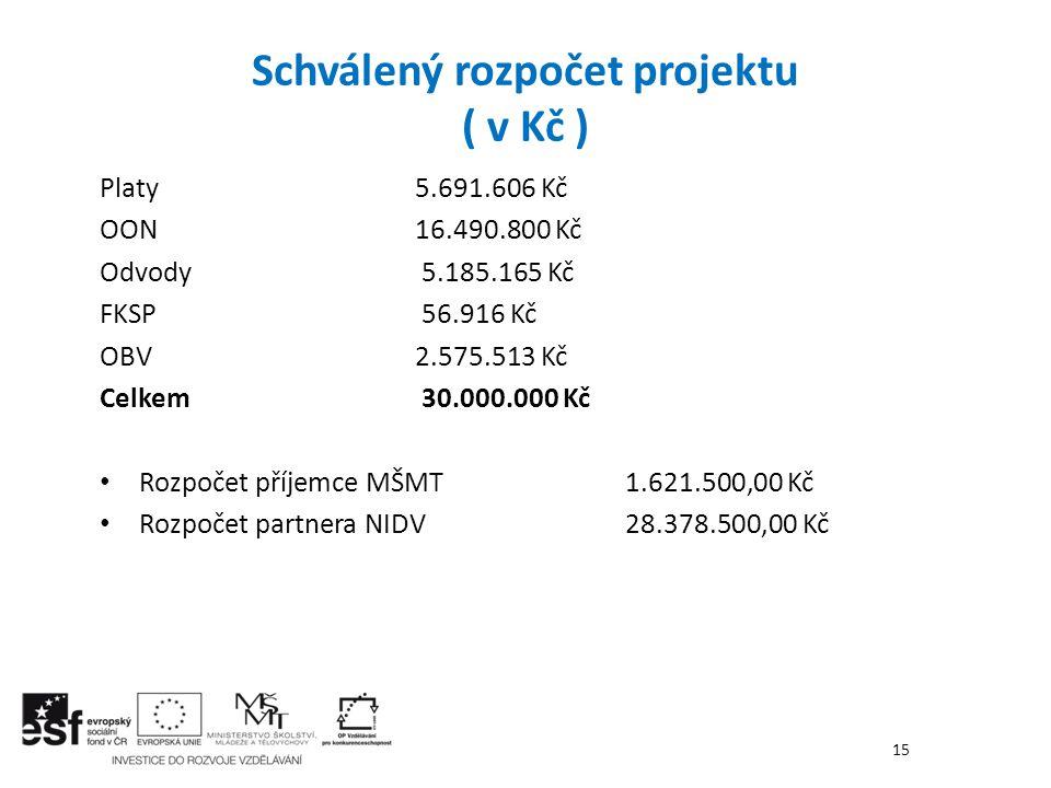 Schválený rozpočet projektu ( v Kč )
