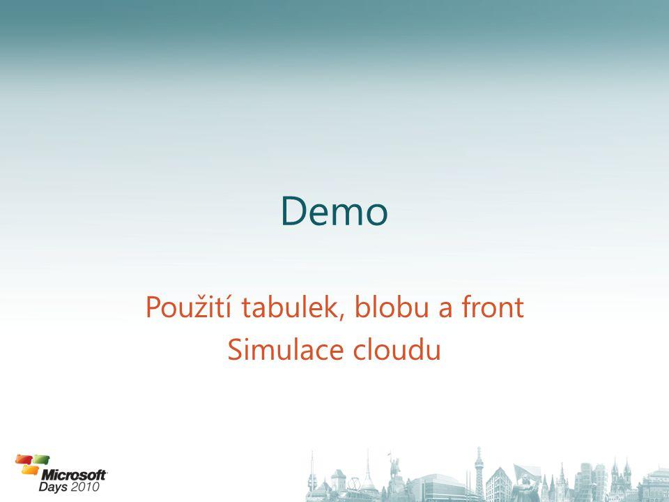 Použití tabulek, blobu a front Simulace cloudu