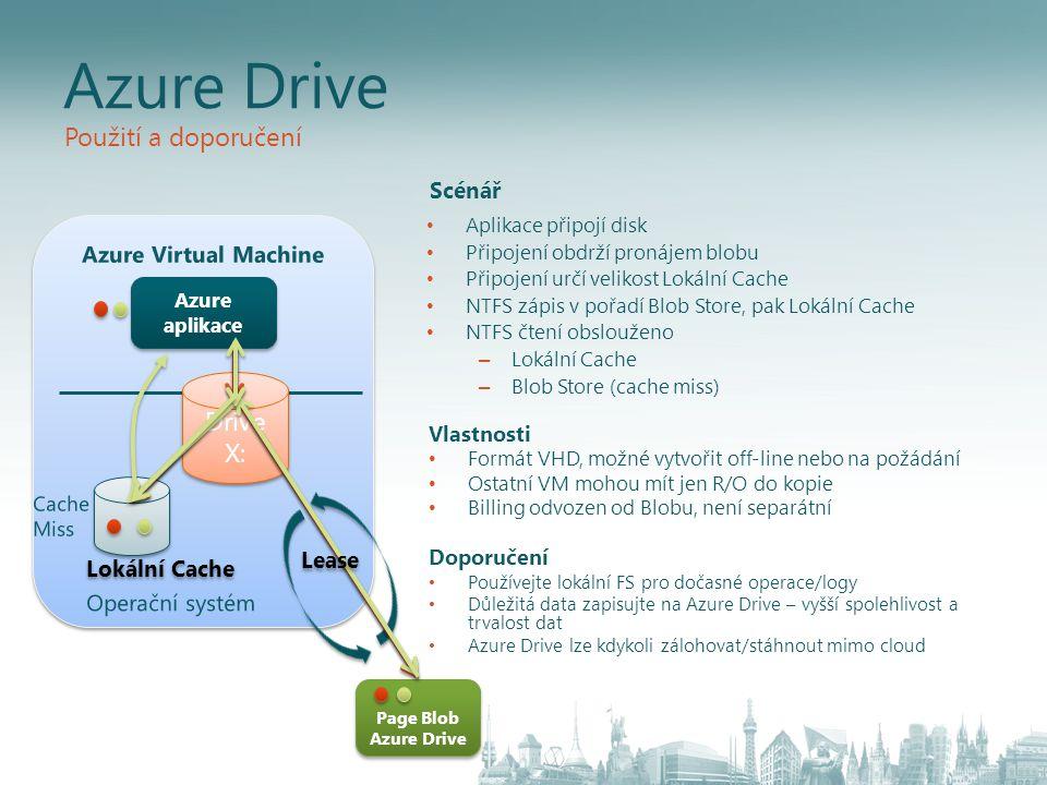 Azure Drive Použití a doporučení Drive X: Scénář Azure Virtual Machine
