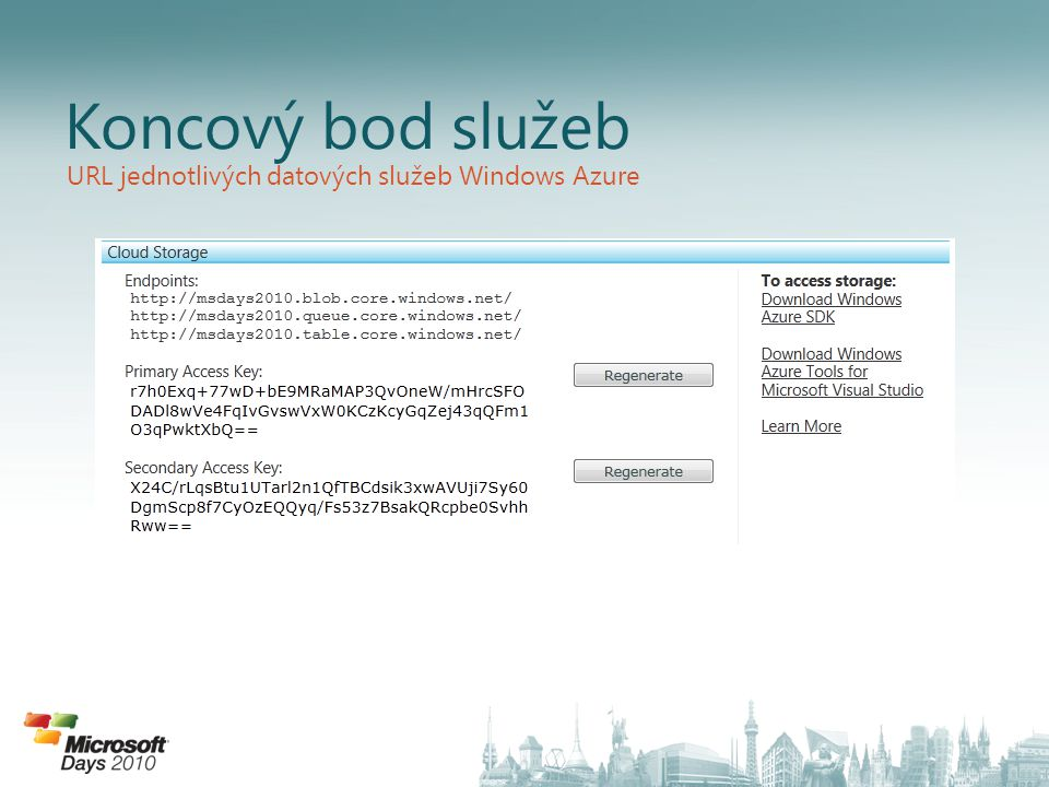 Koncový bod služeb URL jednotlivých datových služeb Windows Azure