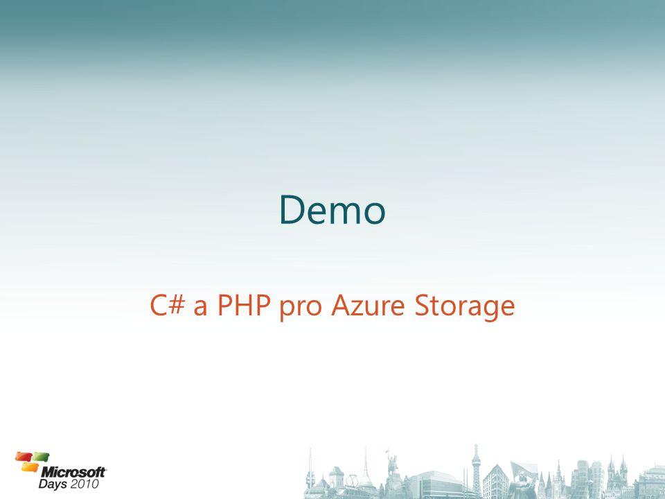 C# a PHP pro Azure Storage