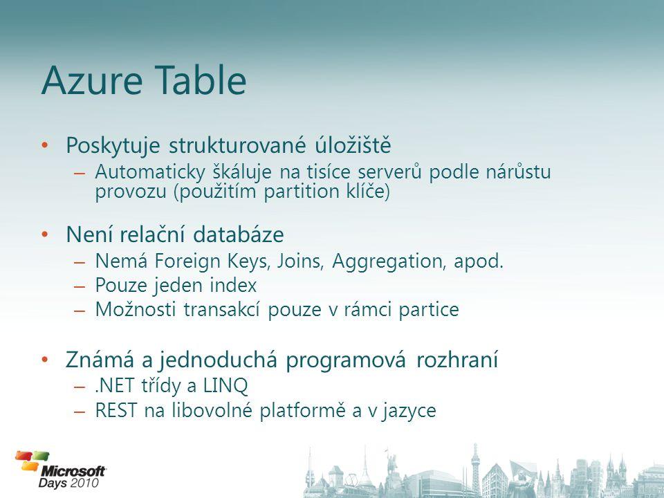 Azure Table Poskytuje strukturované úložiště Není relační databáze