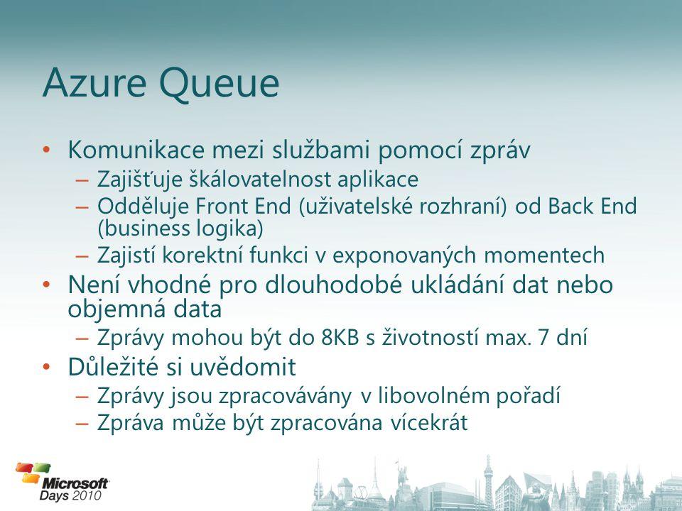 Azure Queue Komunikace mezi službami pomocí zpráv