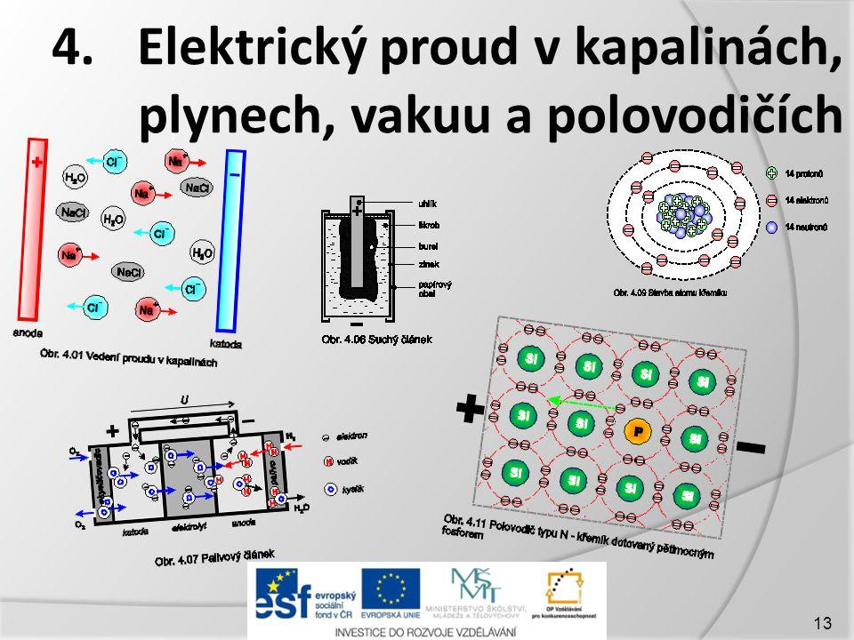 4. Elektrický proud v kapalinách, plynech, vakuu a polovodičích