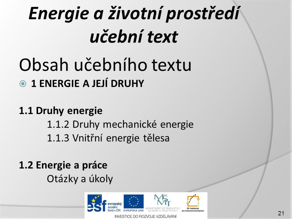 Energie a životní prostředí učební text