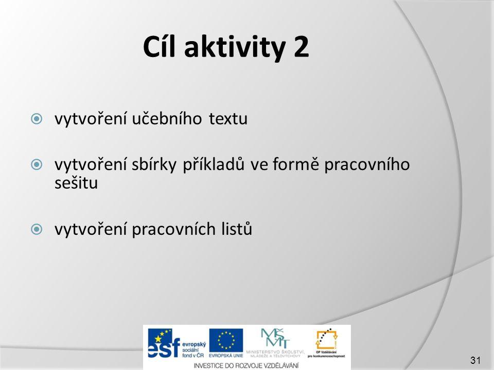 Cíl aktivity 2 vytvoření učebního textu