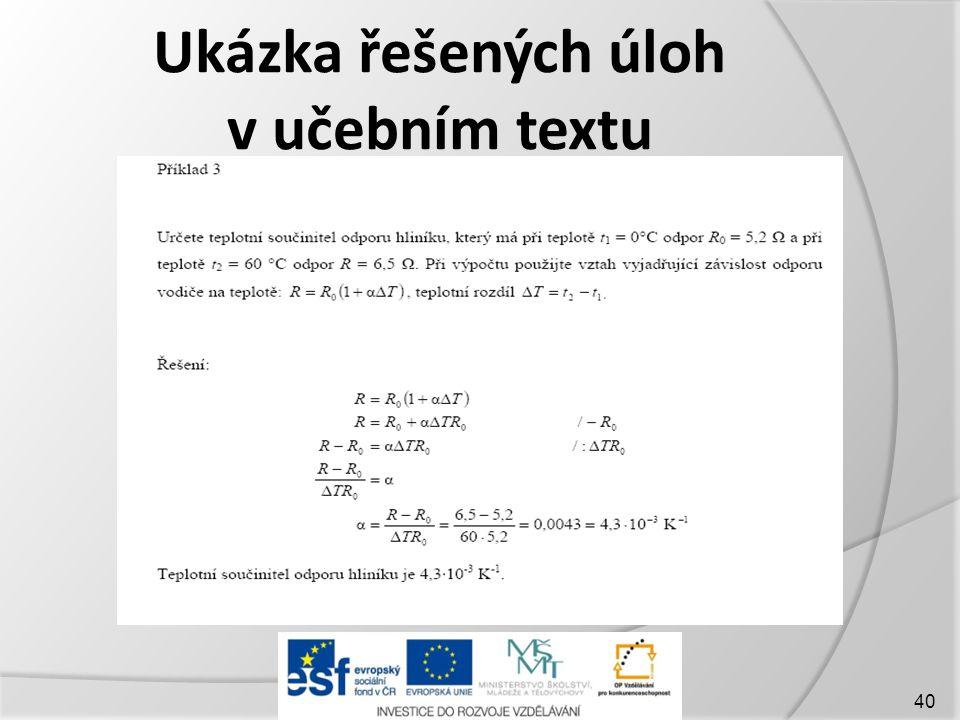 Ukázka řešených úloh v učebním textu