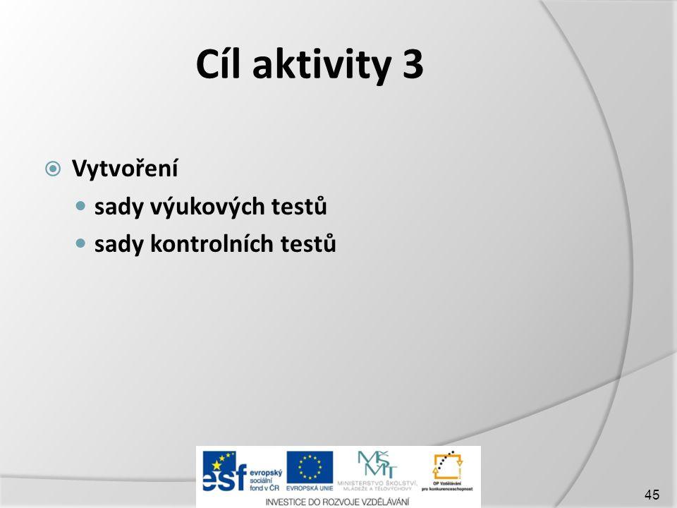 Cíl aktivity 3 Vytvoření sady výukových testů sady kontrolních testů