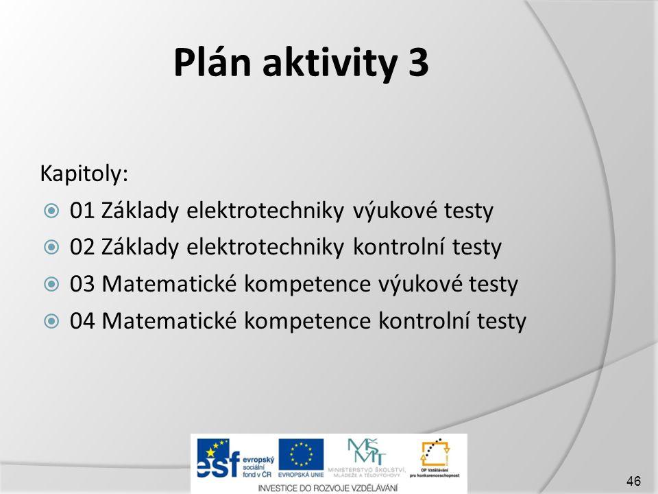 Plán aktivity 3 Kapitoly: 01 Základy elektrotechniky výukové testy