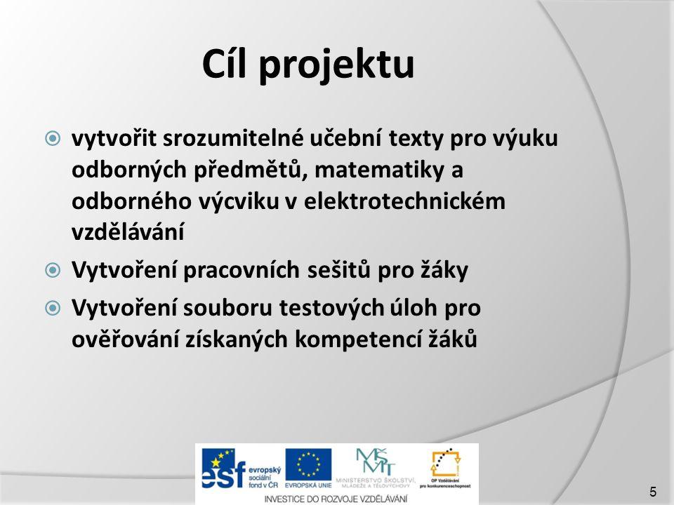 Cíl projektu vytvořit srozumitelné učební texty pro výuku odborných předmětů, matematiky a odborného výcviku v elektrotechnickém vzdělávání.