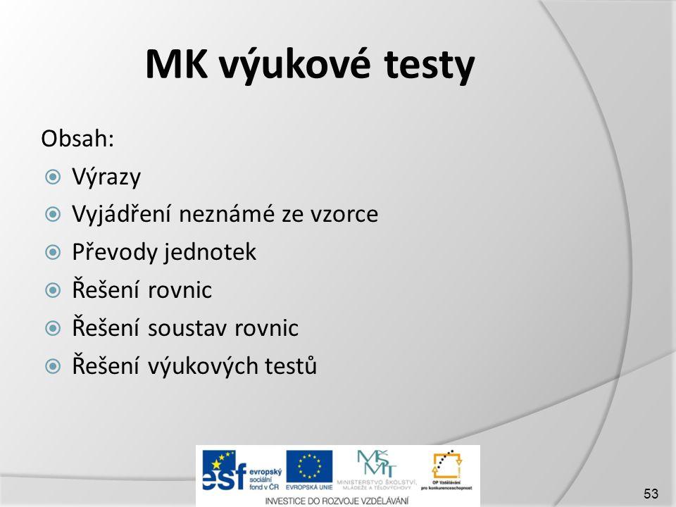 MK výukové testy Obsah: Výrazy Vyjádření neznámé ze vzorce
