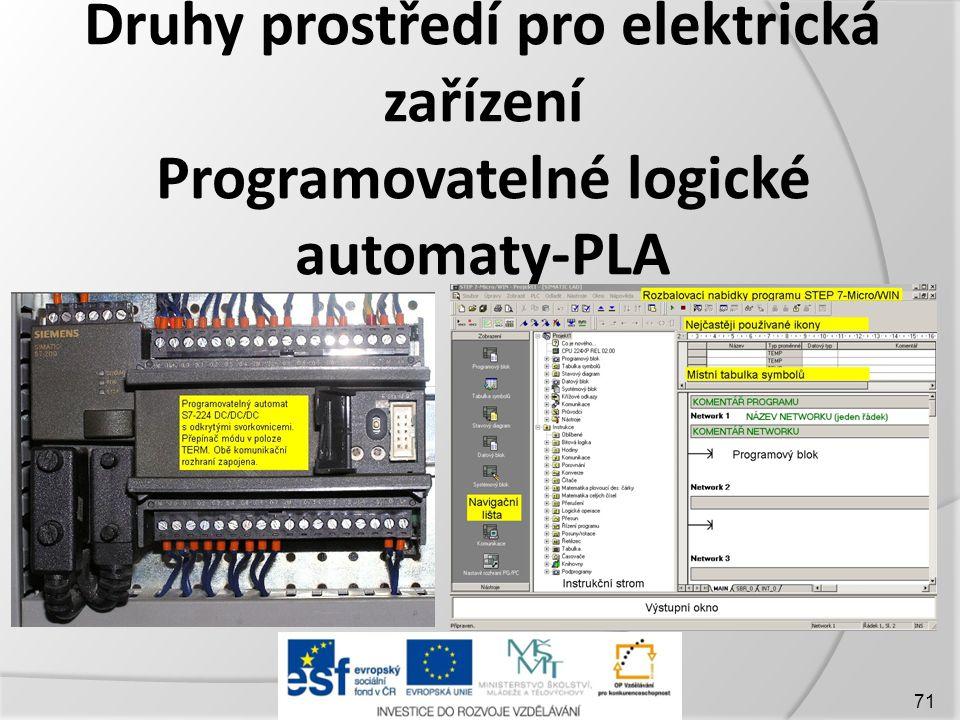 Druhy prostředí pro elektrická zařízení Programovatelné logické automaty-PLA
