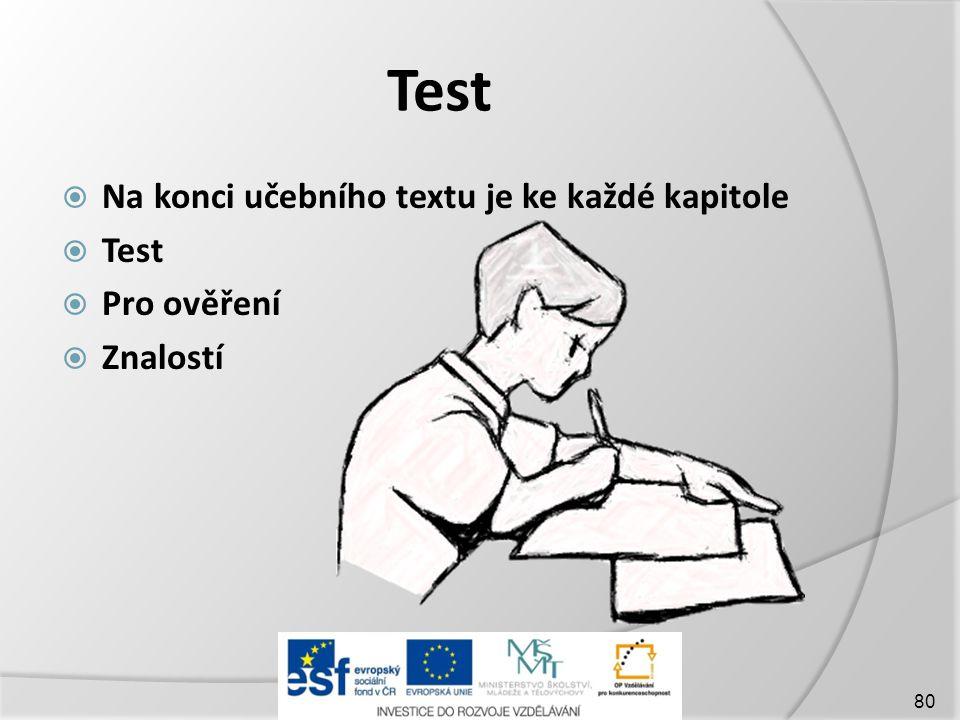 Test Na konci učebního textu je ke každé kapitole Test Pro ověření