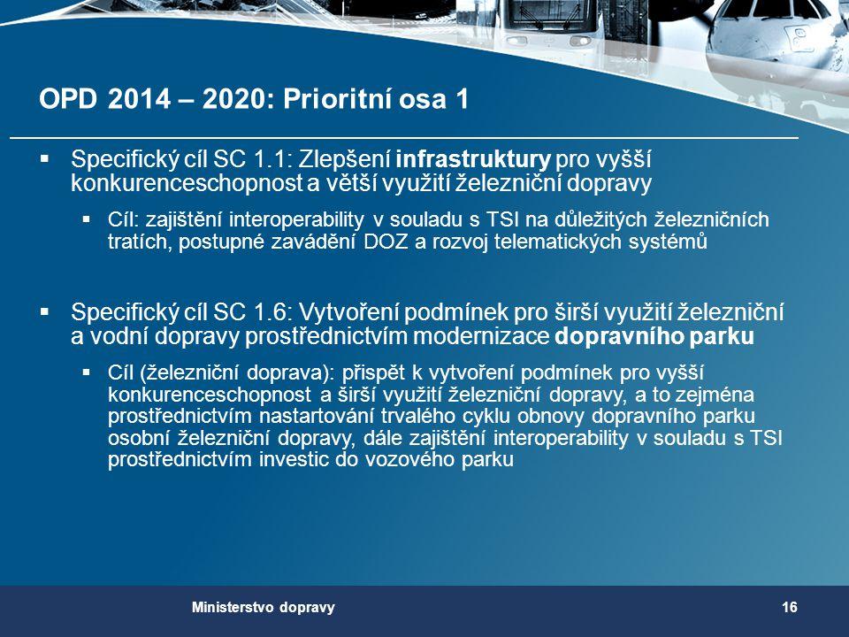 OPD 2014 – 2020: Prioritní osa 1 Specifický cíl SC 1.1: Zlepšení infrastruktury pro vyšší konkurenceschopnost a větší využití železniční dopravy.