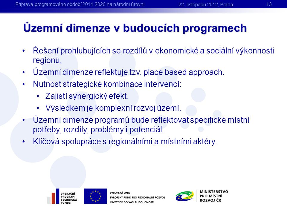 Územní dimenze v budoucích programech