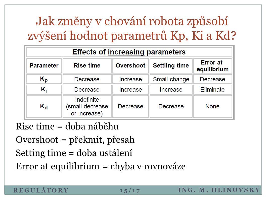 Jak změny v chování robota způsobí zvýšení hodnot parametrů Kp, Ki a Kd