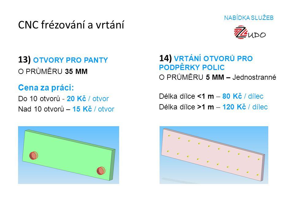 CNC frézování a vrtání 13) OTVORY PRO PANTY