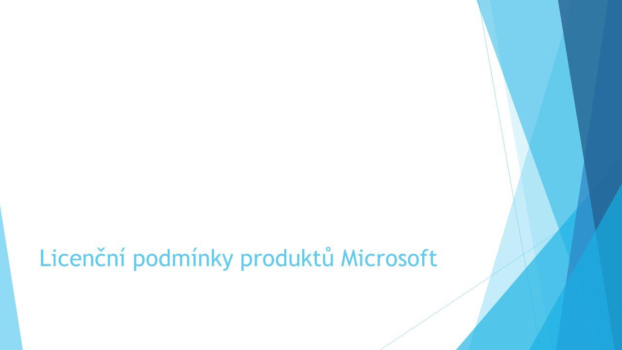 Licenční podmínky produktů Microsoft