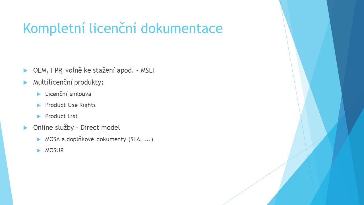 Kompletní licenční dokumentace