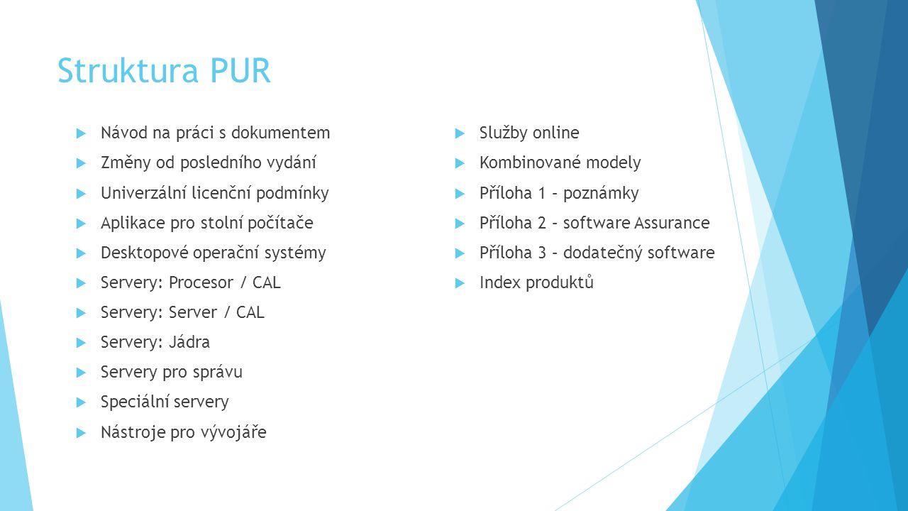 Struktura PUR Návod na práci s dokumentem Služby online