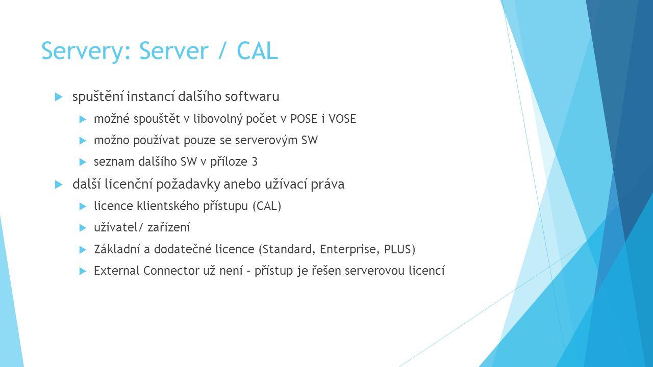 Servery: Server / CAL spuštění instancí dalšího softwaru