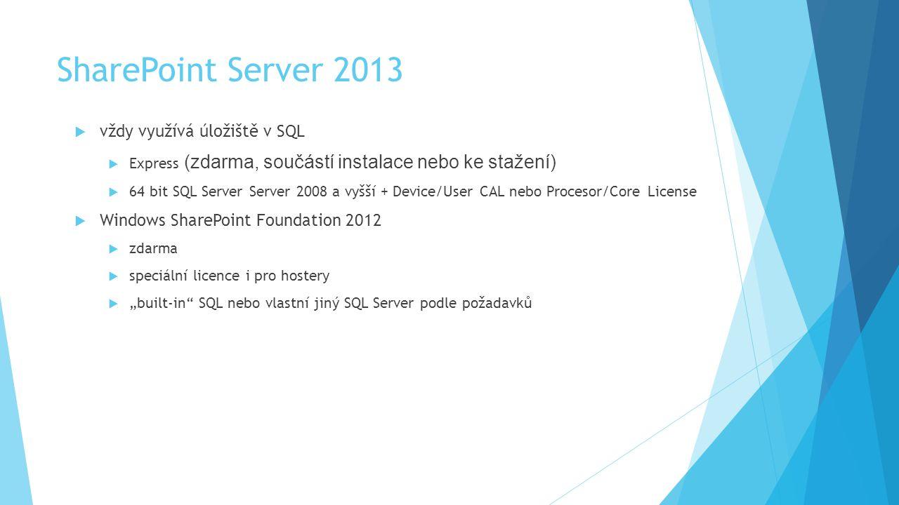 SharePoint Server 2013 vždy využívá úložiště v SQL