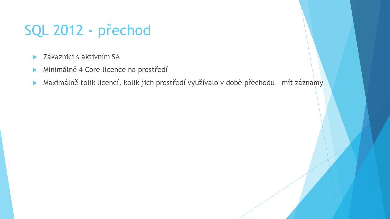 SQL 2012 - přechod Zákazníci s aktivním SA