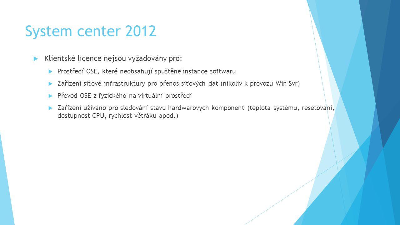 System center 2012 Klientské licence nejsou vyžadovány pro:
