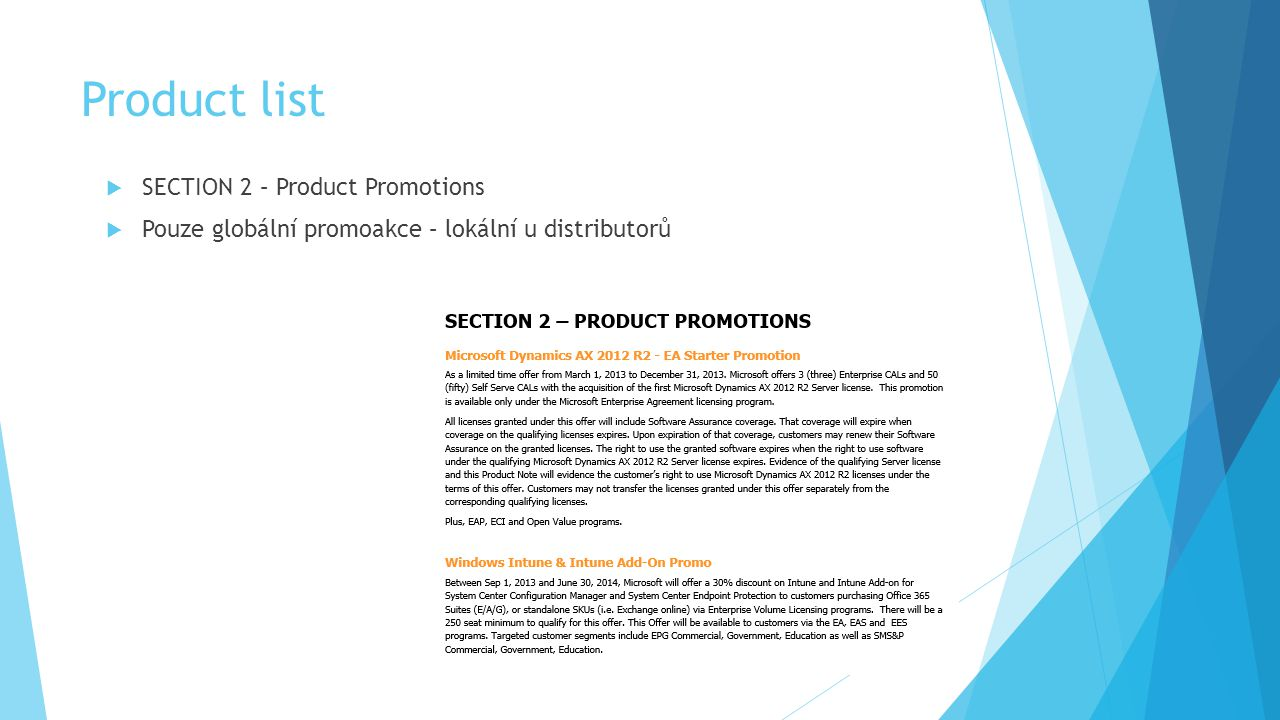 Product list SECTION 2 – Product Promotions